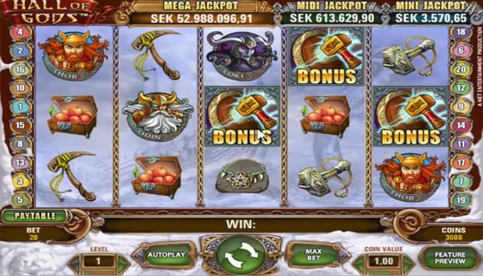 Hall of Gods Spielautomat mit Jackpot